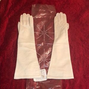 Vintage Saks Fifth Avenue White Leather Gloves